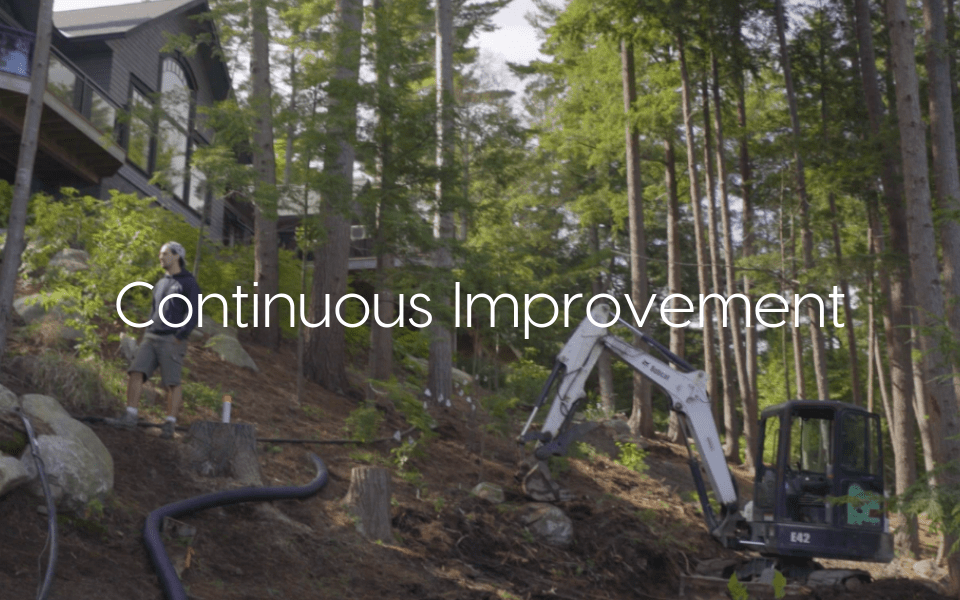"""""""Continuous Improvement"""" text over image of cottage renovations"""