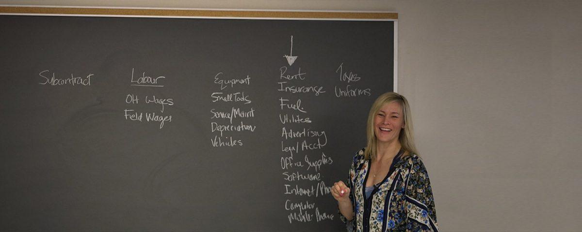 Janna Bradley teaching a class in front of a chalkboard