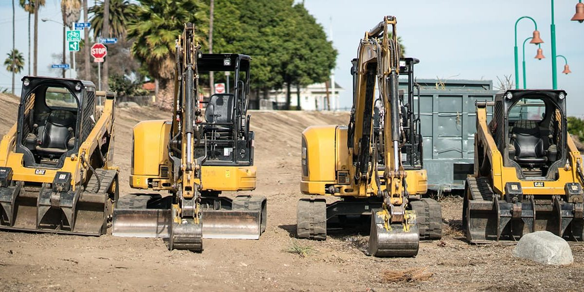 A line of Large CAT equipment, such as skid steers and mini excavators