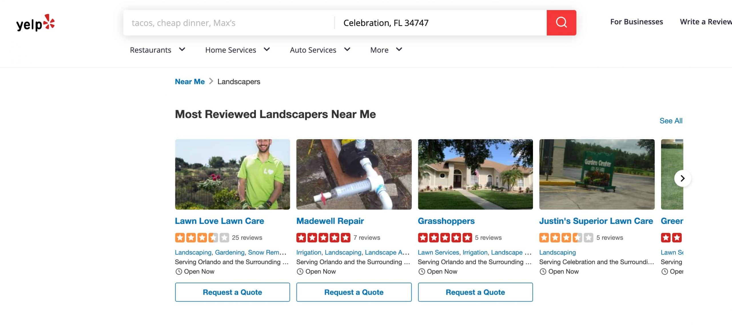 Most Reviewed Landscapers on Yelp