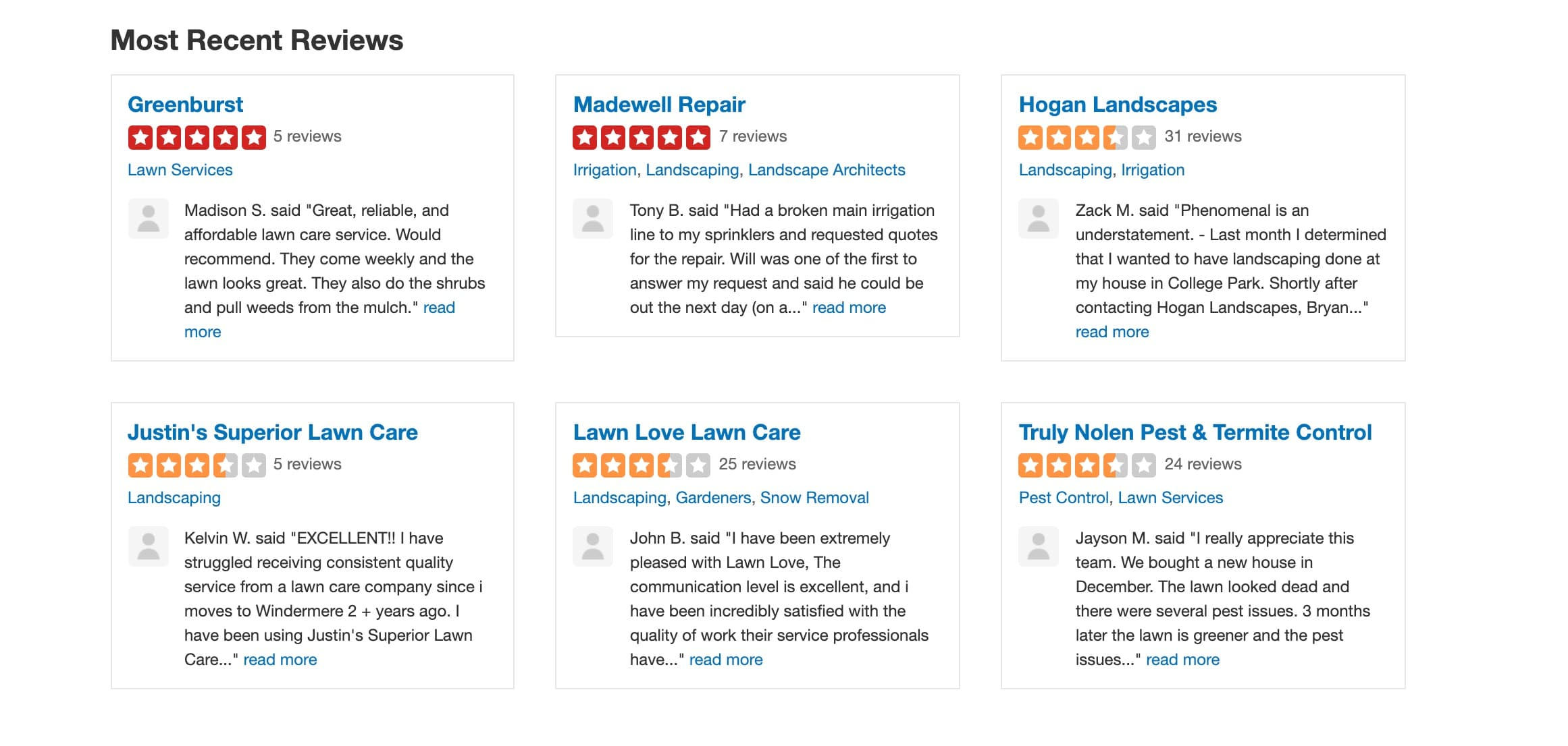 Example Landscaping Business Reviews On Yelp