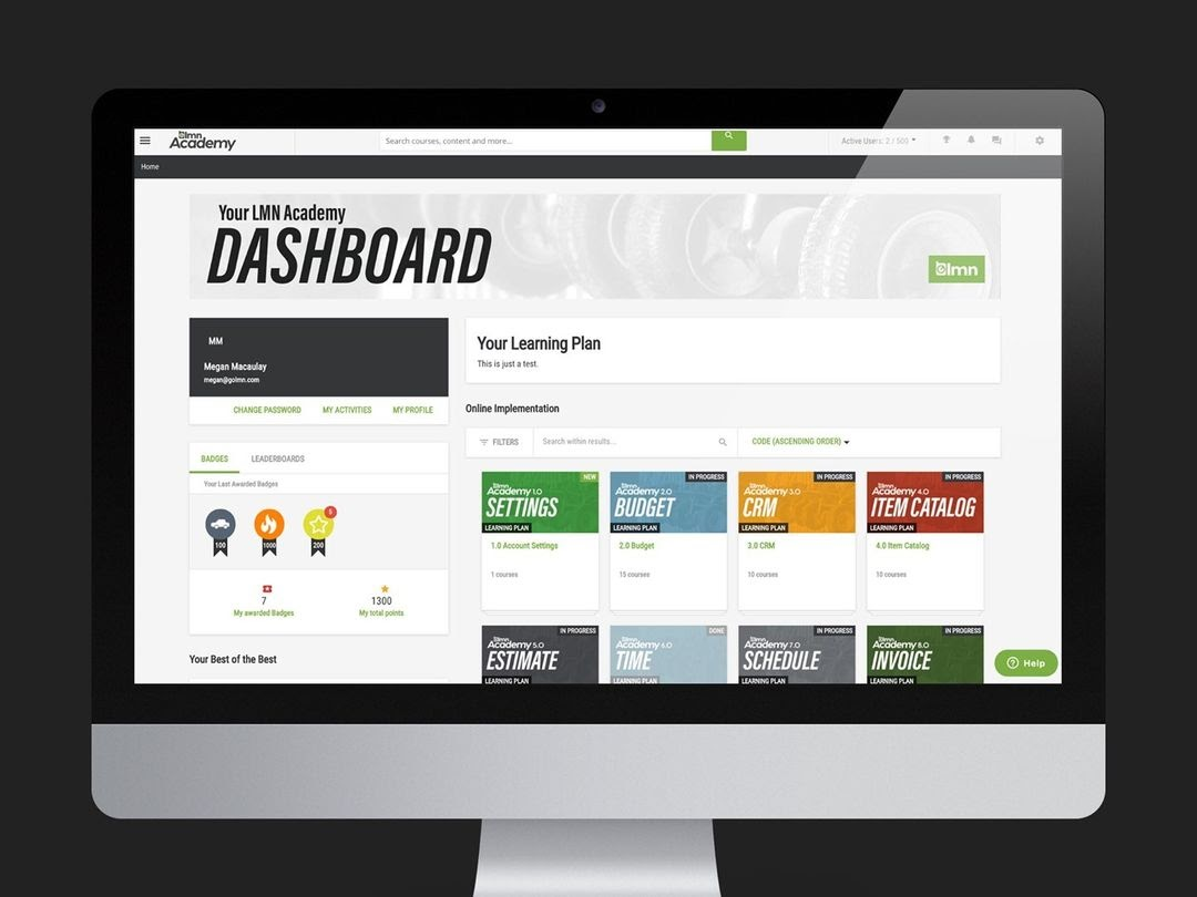 LMN Academy dashboard setting a standard for landing page design.
