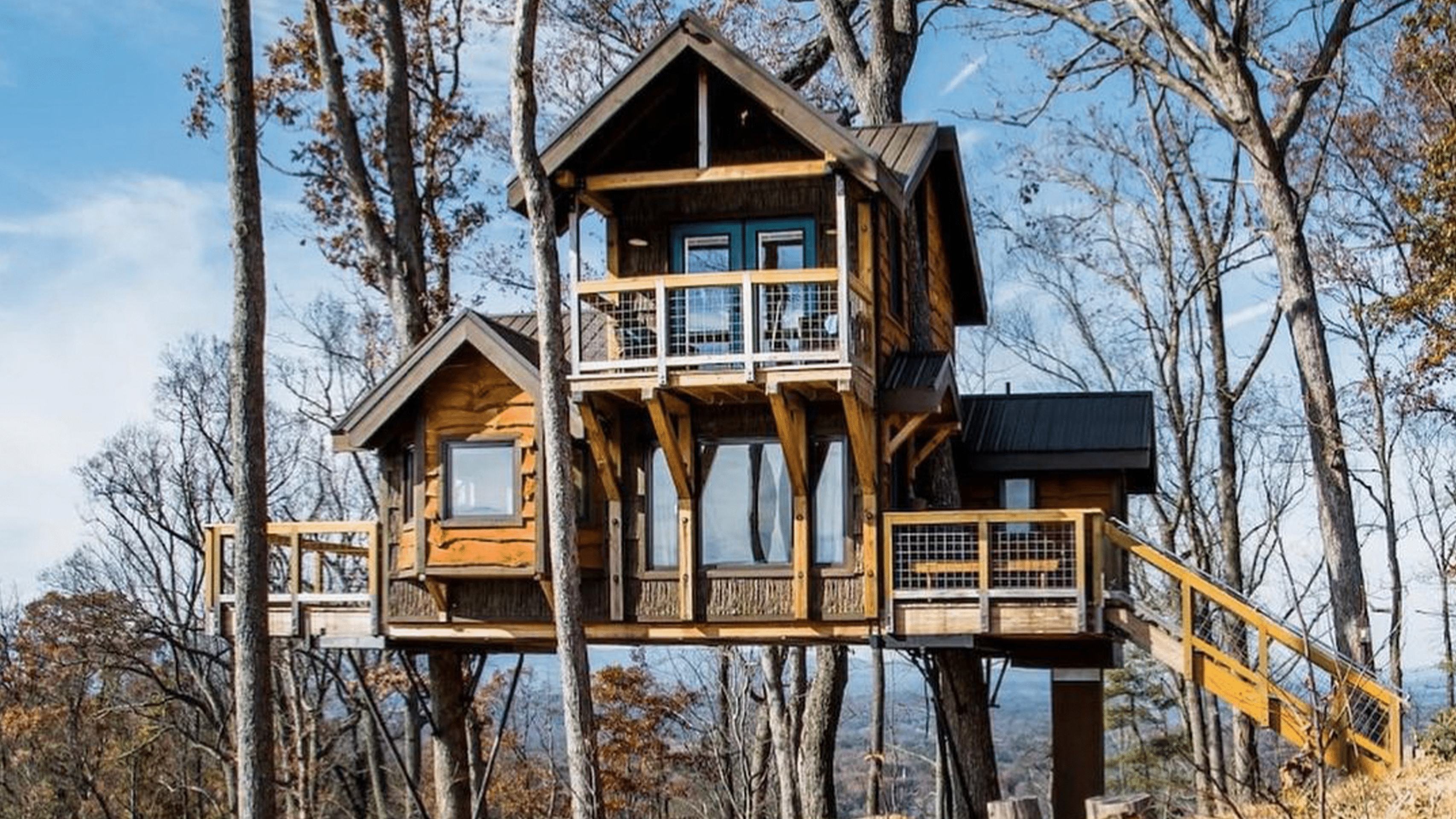 A woodland house shown on World of Carpentry