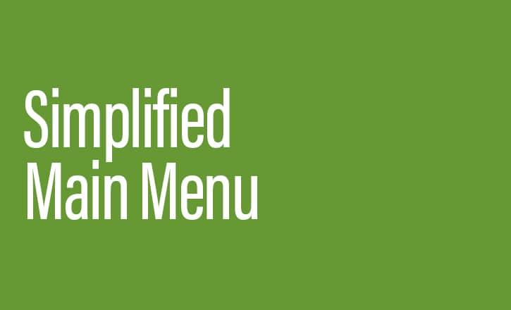 product update Simplified Main Menu