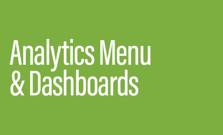 Analytics menu & dashboards.