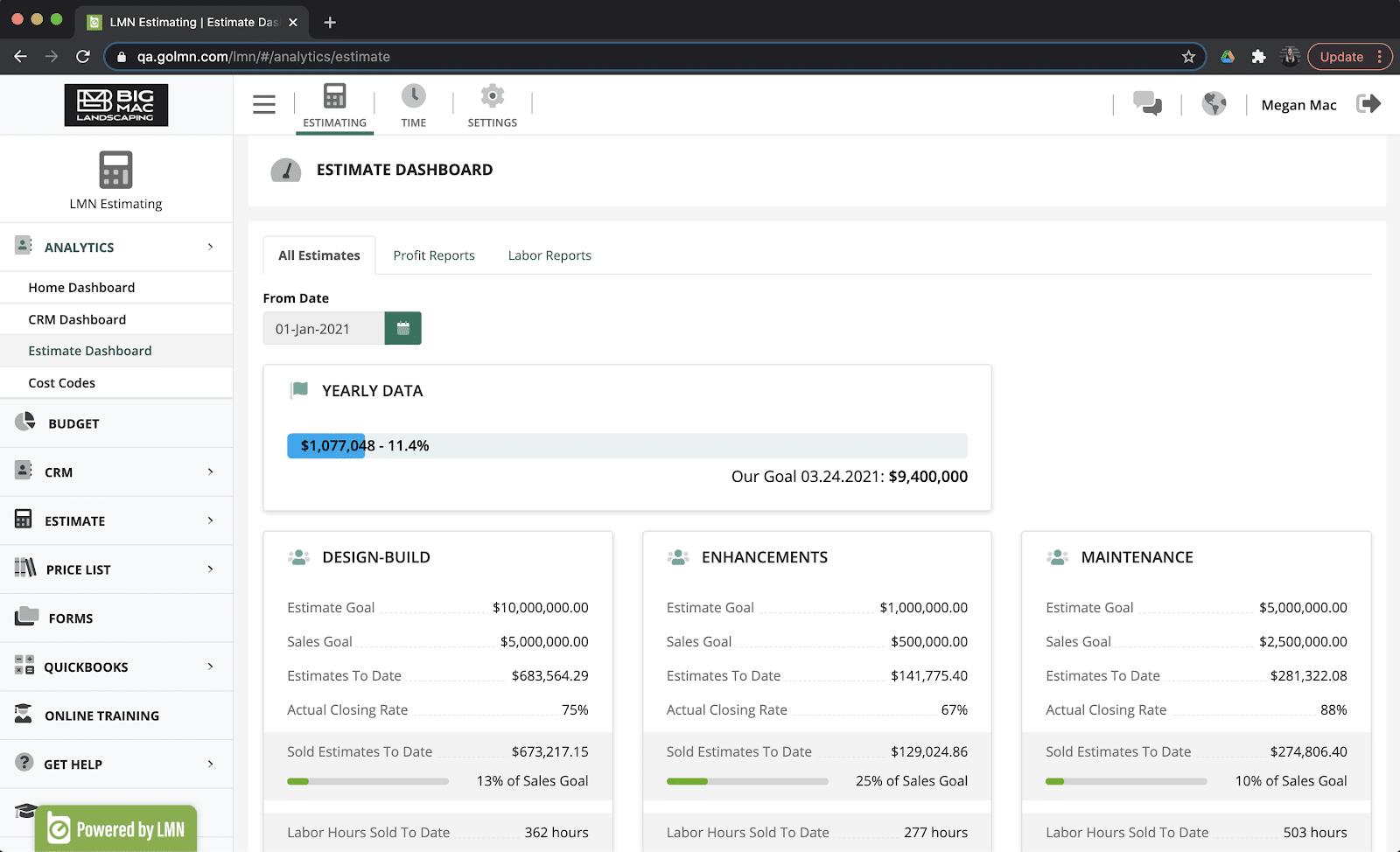 Analytics menu & dashboards